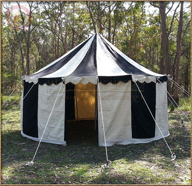 Black+White Pavilion - Striped Round Tent (5m diameter) ... & Medieval striped pavilion tent for re-enactment