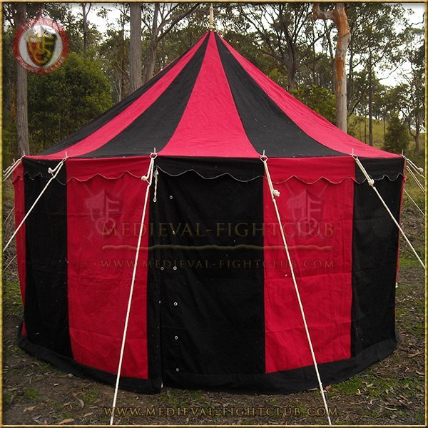 Medieval Striped Pavilion Tent Black Amp Red