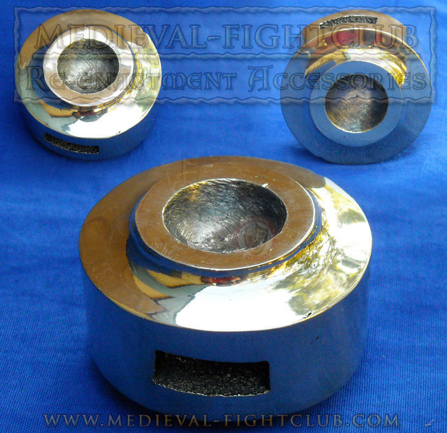 Brass Round pommel with domed inset