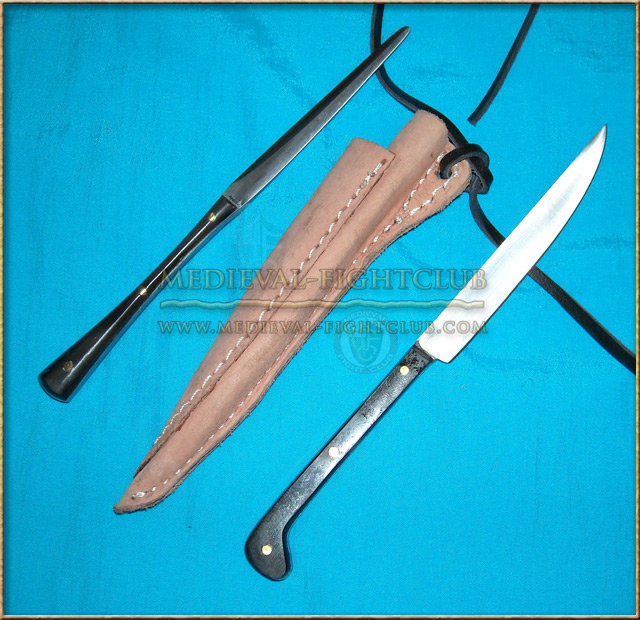 Mini Knife and Pricker cutlery set with sheath - horn