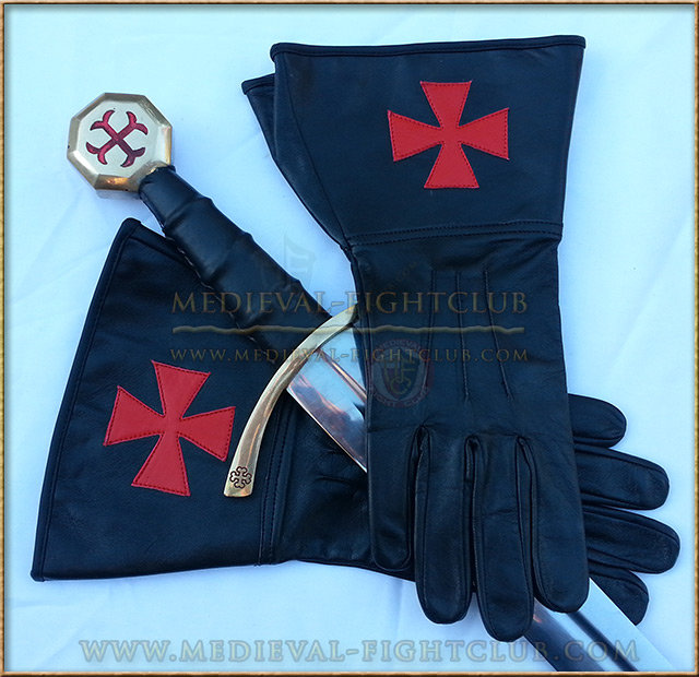 Leather Gauntlet Gloves - Templar Brother Crusader