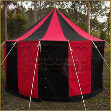 Red & Black Pavilion - Striped Round Tent (5m Diameter)