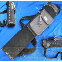Suede Leather Quiver with large pouch