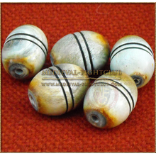 Wooden Eliptical bead/button with parallel lines