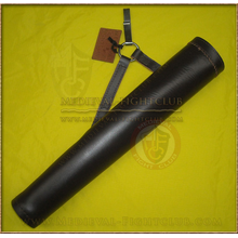 Tube side quiver - smooth dark leather