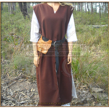 Unisex linen lined woollen surcoat - brown