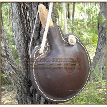 Leather drinking bottle - costrel (round)