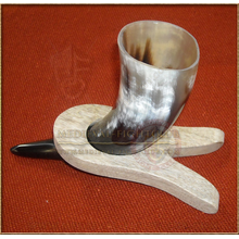 Wooden Horn Stand showing how it works with a horn