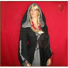 Medieval Lace-up dress with hood - Black & Grey