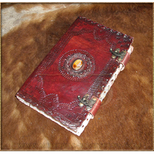 Leather Journal 25.5cm x 18cm - Cabachon & double Swing Clasp